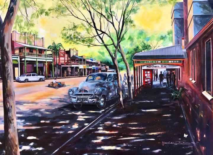 Stephen Thomas painting of a Quiet Morning in Bangalow, New South Wales. Painting dimensions are 75cm x 55cm.