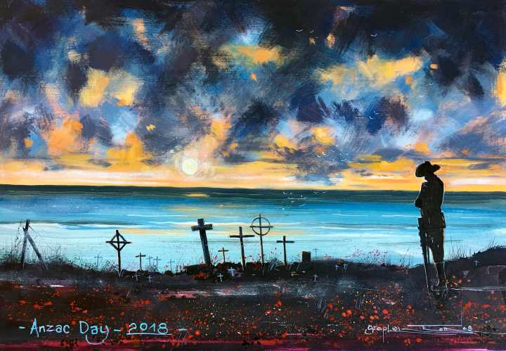 Stephen Thomas painting of Anzac Day 2018. Painting dimensions are 33cm x 22cm.