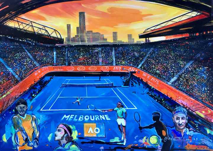 Stephen Thomas painting of Australian Open 2019. Painting dimensions are 68cm x 50cm.