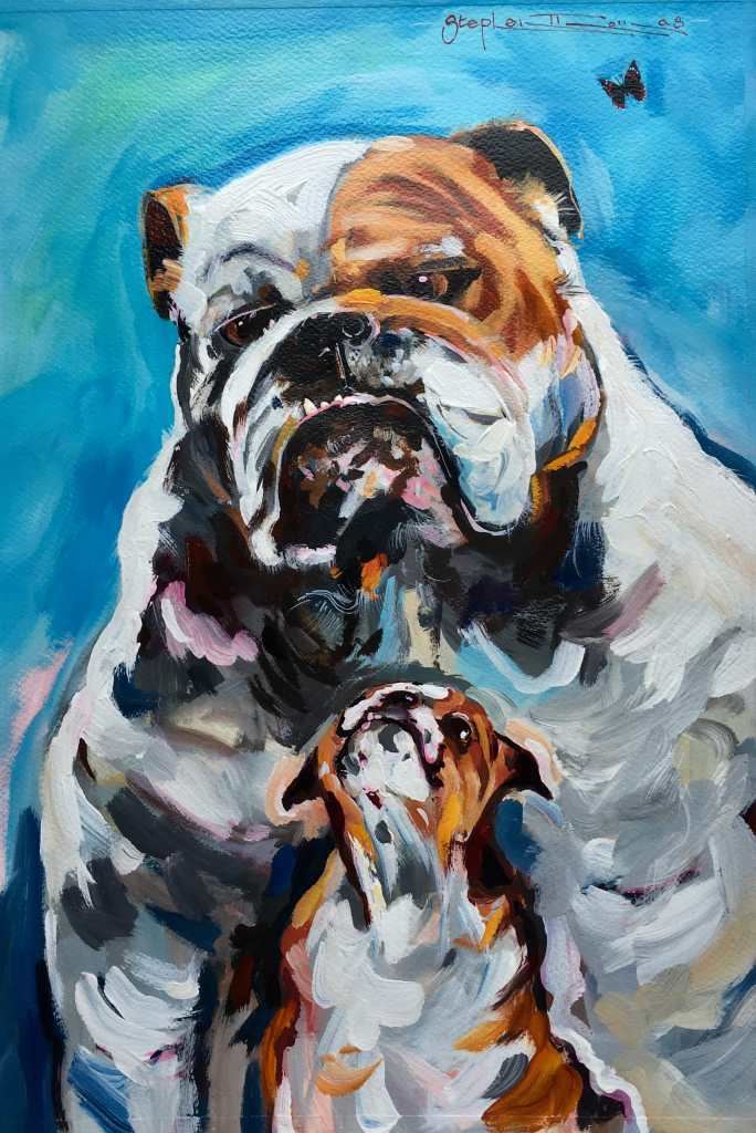 Stephen Thomas painting of two dogs using acrylic. Painting dimensions are 49cm x 34cm.