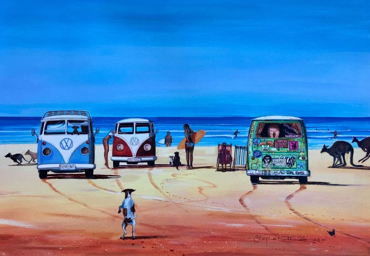 Stephen Thomas painting of three Kombi Vans parked on the beach. Painting dimensions are 57.5cm x 41cm.
