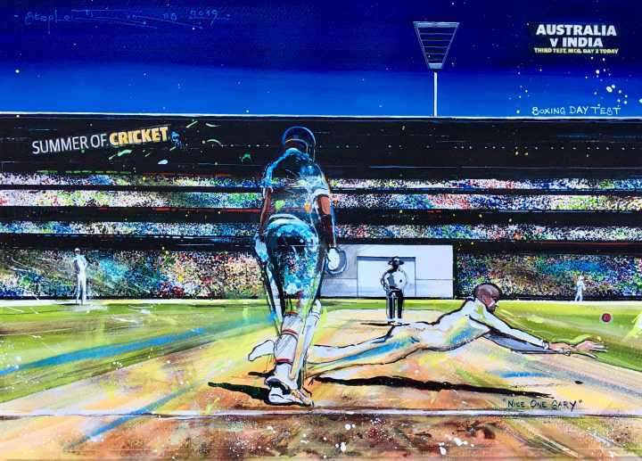 "Stephen Thomas painting of Boxing Day Test 2018 ""Nice One Gary"". Painting dimensions are 49cm x 34cm."