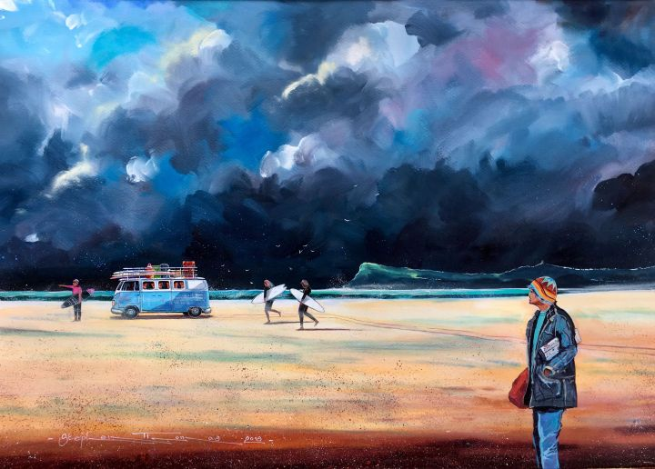 Stephen Thomas Painting of Brocky Watching the Young Guns Hit the Wildest Surf of the Season. Painting dimensions are 68cm x 48cm.
