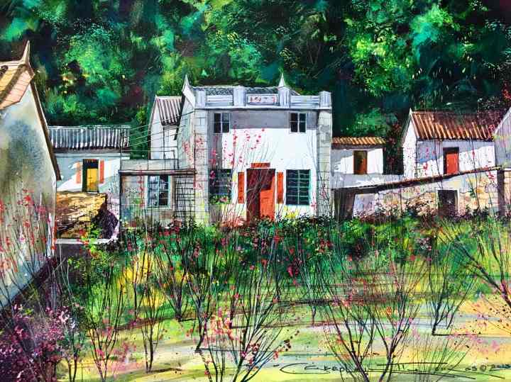 Stephen Thomas painting of Chinese New Year - Lamma Island, Hong Kong. Painting dimensions are 49.5cm x 39.5cm.