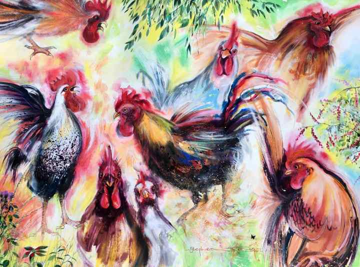 Stephen Thomas painting of chickens in the chook house using mixed media of watercolour, inks, liquid acrylic, pastels and powder pigments. Painting dimensions are 74cm x 56cm.