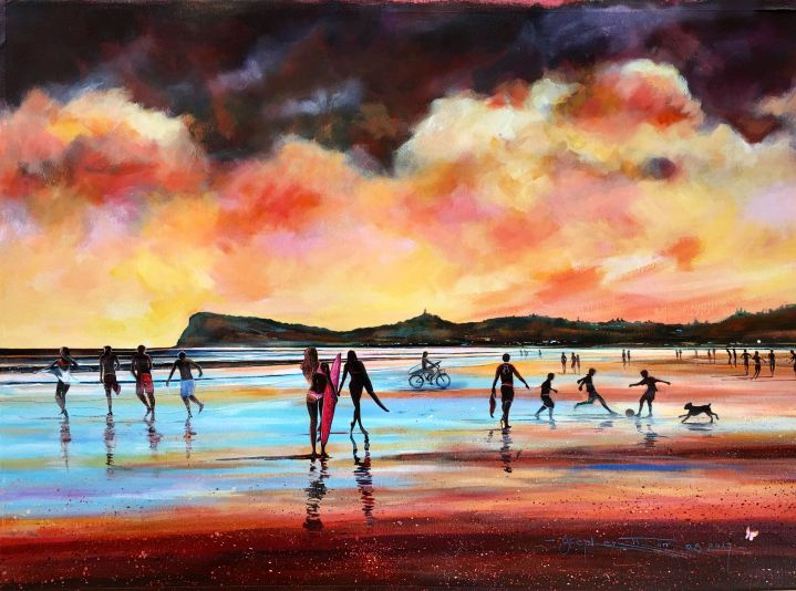 Stephen Thomas painting of Dancing Shadows located in Seven Mile Beach, Lennox Head, New South Wales. Painting dimensions are 74cm x 54cm.