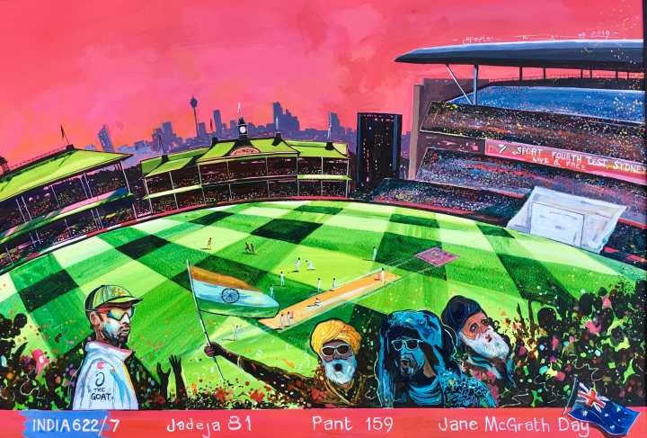 Stephen Thomas painting of Jane McGrath Day, Sydney Cricket Ground Australia vs India. Painting dimensions are 49cm x 34cm.