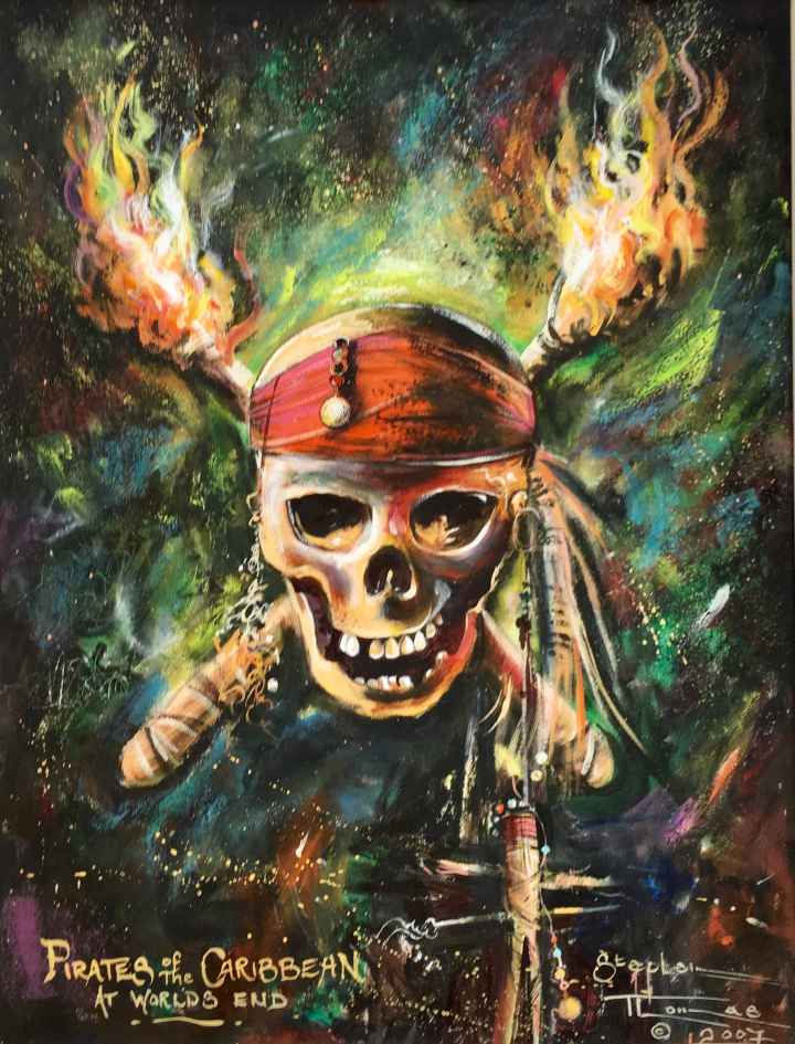 Stephen Thomas painting of Johnny Depp Pirates of Caribbean movie. Painting dimensions are 37.5cm x 28.5cm.
