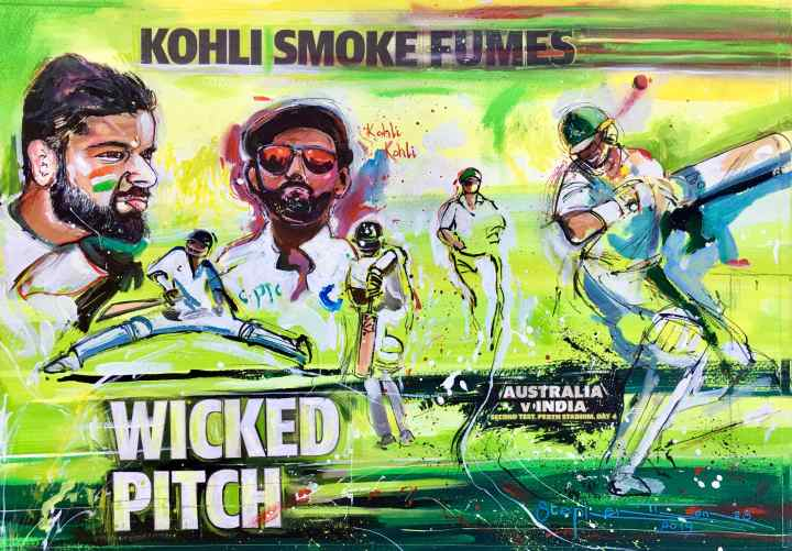 Stephen Thomas painting of KOHLI KOHLI - Australia vs India. Painting dimensions are 49cm x 34cm.