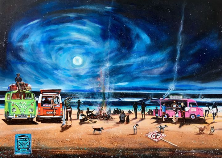 Stephen Thomas painting of Kombi Capers Series - Moonlight and Donuts. Painting dimensions are 74cm x 53.5cm