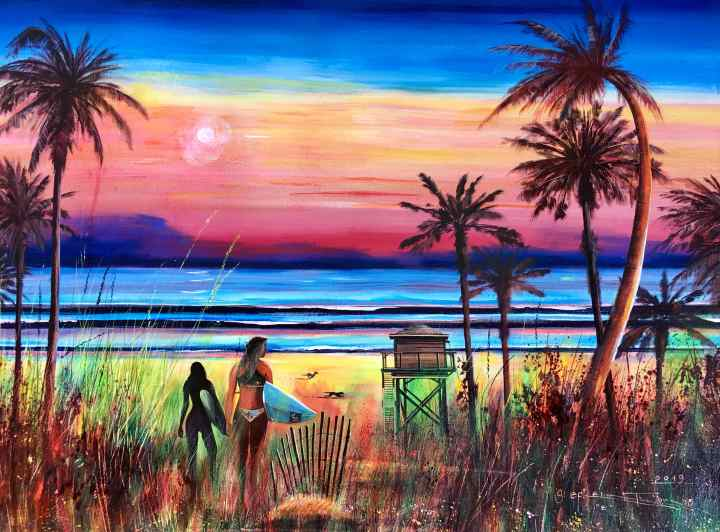 Stephen Thomas painting of Moonlight Surf, surfers on the beach. Painting dimensions are 75cm x 54.5cm.