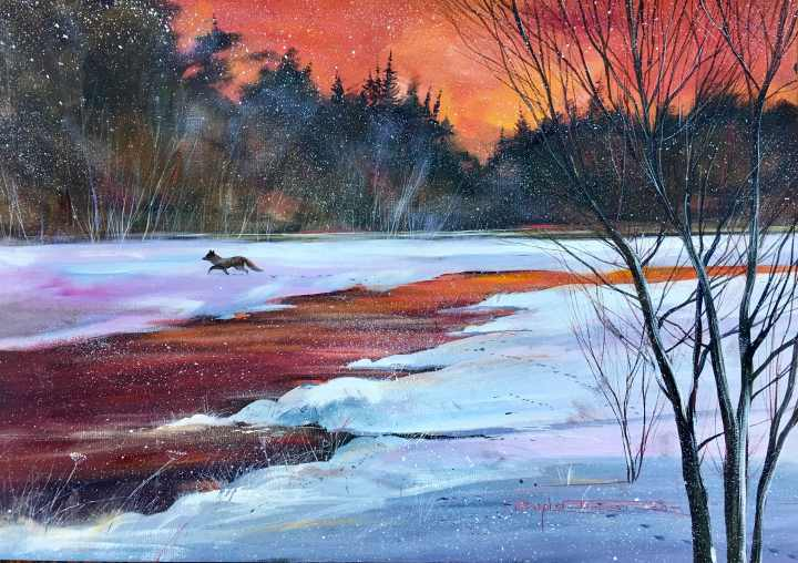 Stephen Thomas painting of a fox wandering around on a snowfield. Painting dimensions are 49.5cm x 34.5cm.