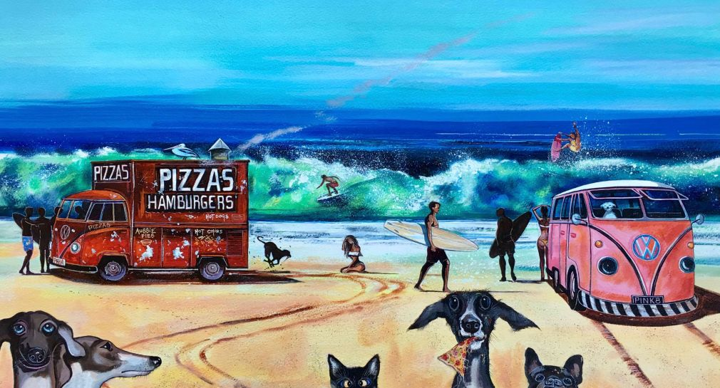 Stephen Thomas painting of a kombi van and a Pizza and Burger Truck parked on the beach and a pack of dogs having pizza. Painting dimensions are 57.5cm x 41cm.