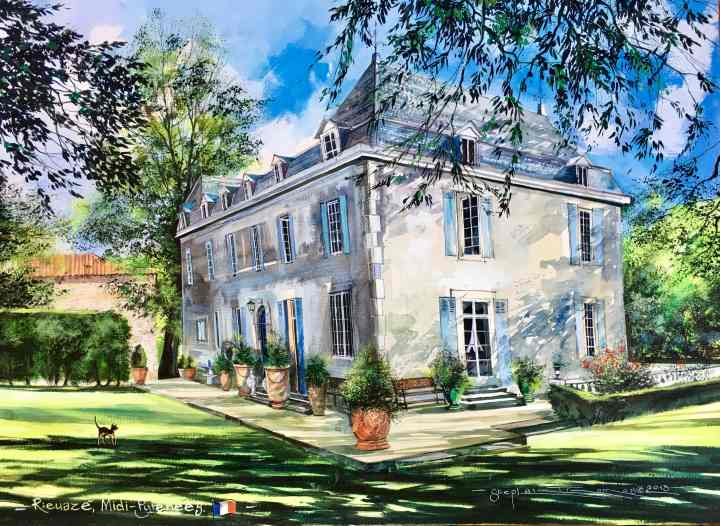 Stephen Thomas painting of Summer 2013 in Rieuazé Midi-Pyrenees - France. Painting dimensions are 55cm x 41.5cm.