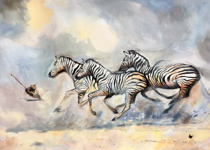 Stephen Thomas painting of running cheetah and three running zebras very close to collide using mixed media of watercolour, inks, liquid acrylic, pastels and powder pigments. Painting dimensions are 70cm x 50cm.