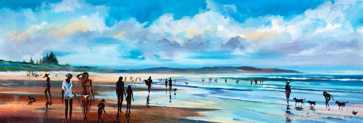 Stephen Thomas painting the everyday scene on Seven Mile Beach