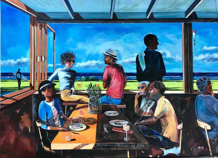 Stephen Thomas painting of one of his favourite restaurant, Śhelter in Pacific Parade, Lennox Head NSW. Painting dimensions are 73cm x 53.5cm.