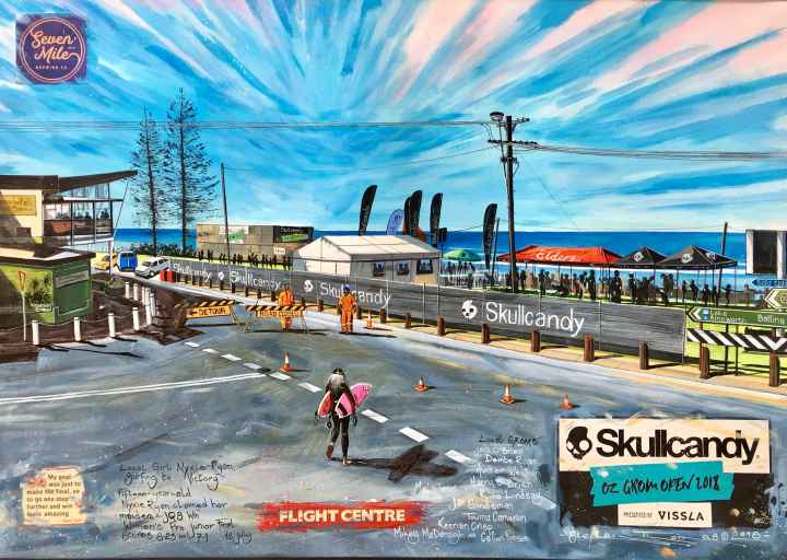Stephen Thomas painting of the Skull Candy Oz Grom 2018 in Seven Mile Beach, Lennox Head, New South Wales. Painting dimensions are 58cm x 40.5cm.