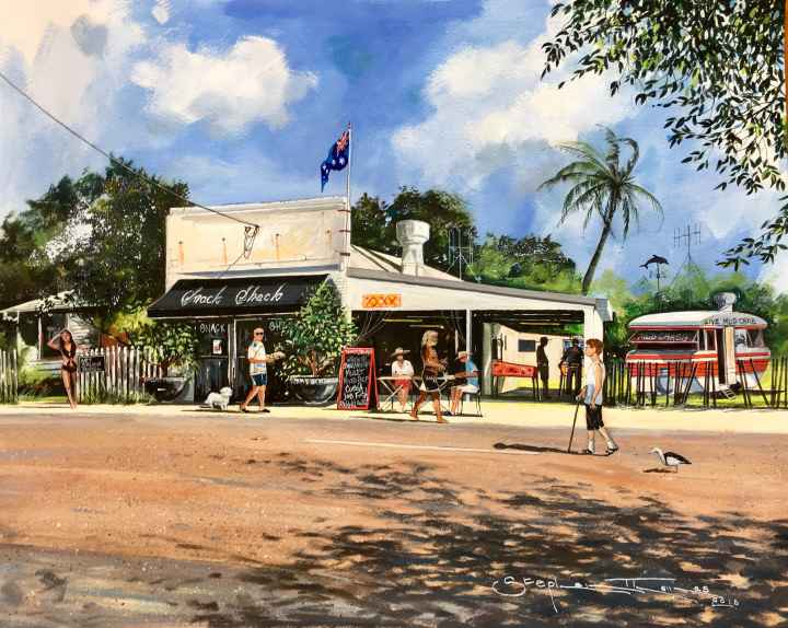 Stephen Thomas painting of Snack Shack in Tin Can Bay, Queensland. Painting dimensions are 50cm x 40cm.