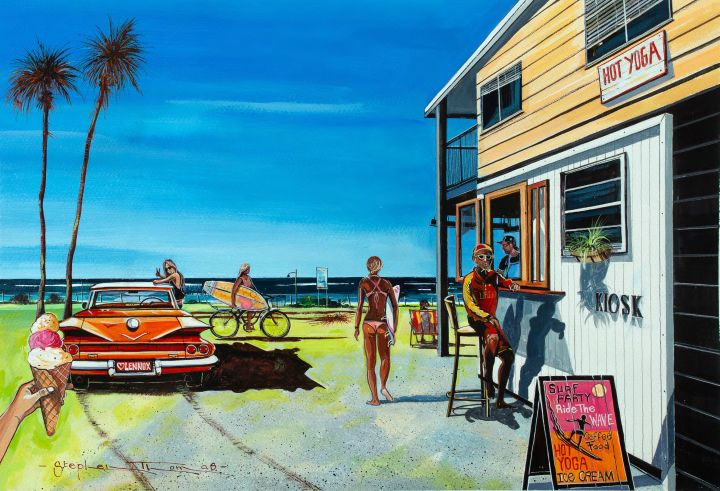 Stephen Thomas painting of Summer Time in Lennox Head, NSW