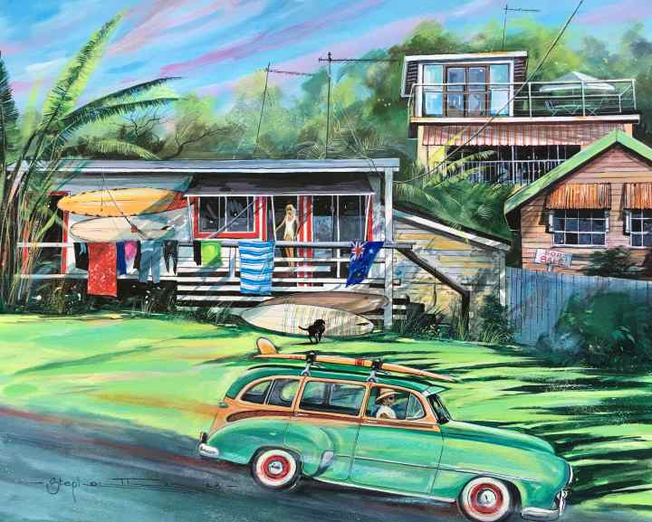Stephen Thomas painting of Surfers Love Shack located in 1674 Coolum, Queensland. Painting dimensions are 50cm x 40cm.