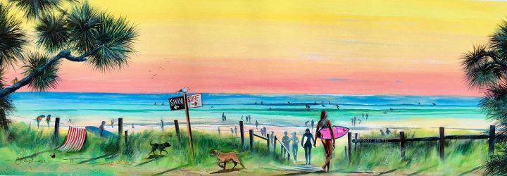 In Stephen painting you will see surfers heading to the beach.