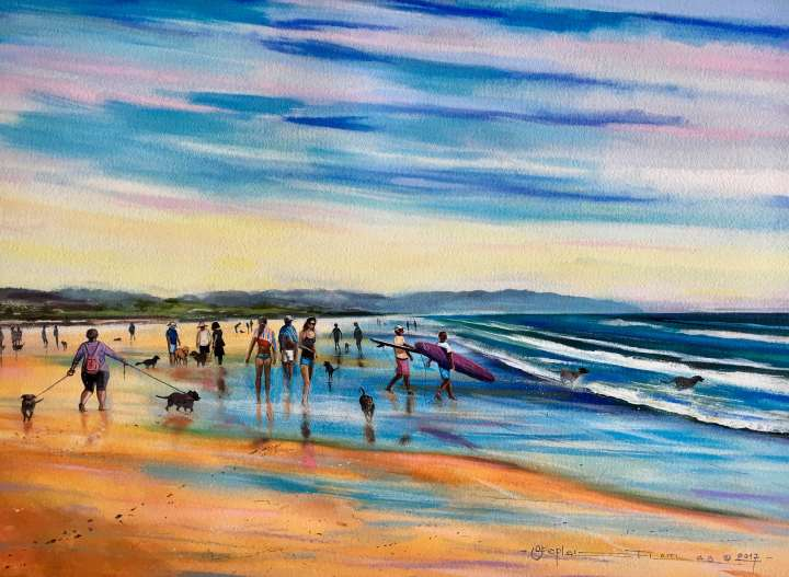 "Stephen Thomas painting of ""Walkies"", you will see people walking their dogs on Seven Mile Beach, Lennox Head, New South Wales. Stephen Thomas used mixed media of watercolour, inks, liquid acrylic, pastels and powder pigments. Painting dimensions are 75cm x 55cm."
