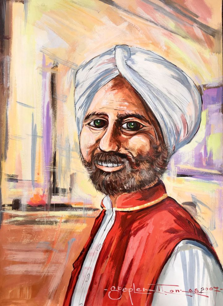 Stephen Thomas painting of an man wearing a turban. Painting dimensions are 37.5cm x 27cm.