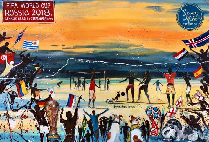 Stephen Thomas painting of the FIFA World Cup 2018 celebration in Seven Mile Beach, Lennox Head, New South Wales. Painting dimensions are 49cm x 34cm.