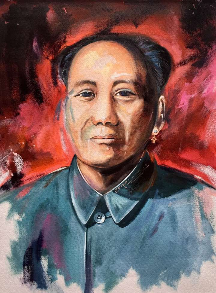 Stephen Thomas painting of Chairman Mao using watercolour and ink. Painting dimensions are 46.6cm x 36.5cm.