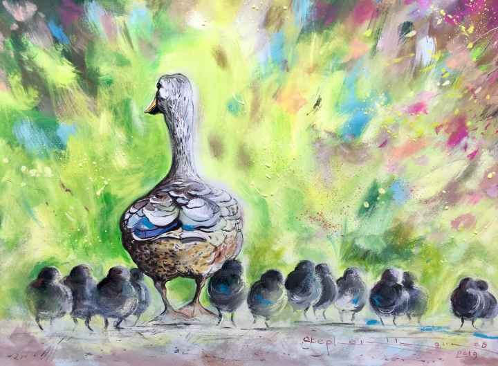 Stephen Thomas painting of a mother duck with her ducklings on a family day out. He used watercolour, liquid acrylic, pastels and pencil. Painting dimensions are 36.5cm x 26cm.
