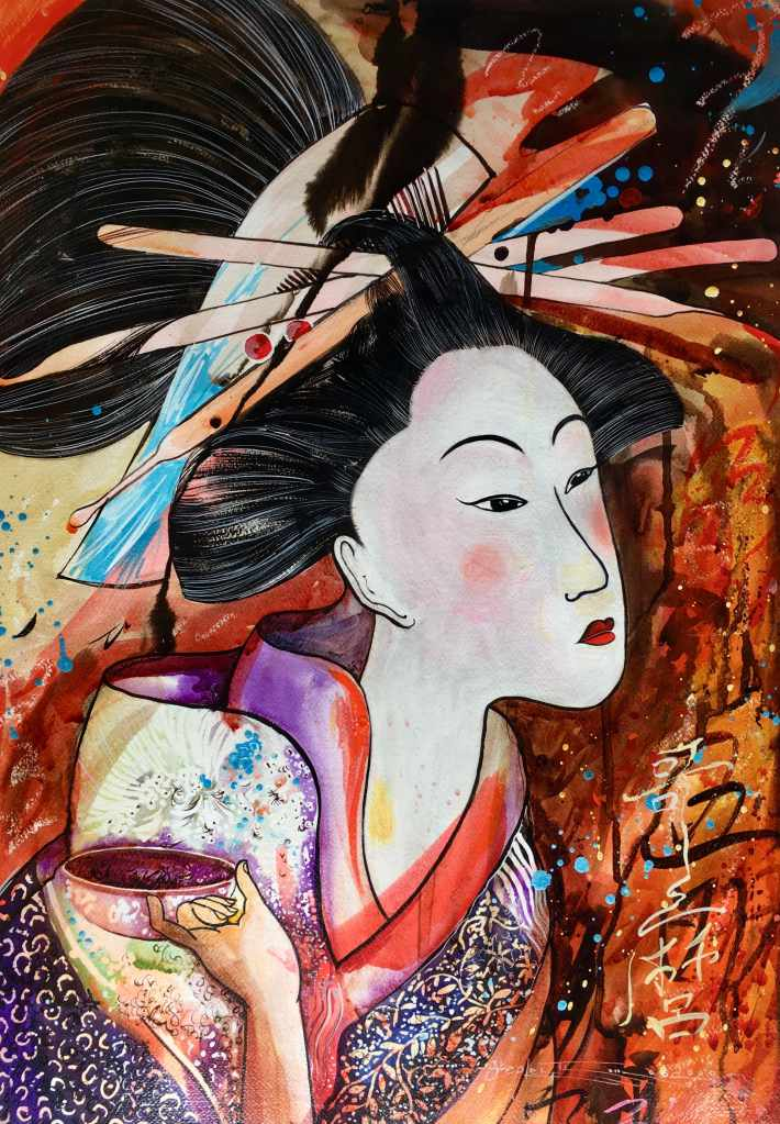 Stephen Thomas painting of one of the geisha concubine's series using watercolour and ink. Painting dimensions are 67cm x 47cm.