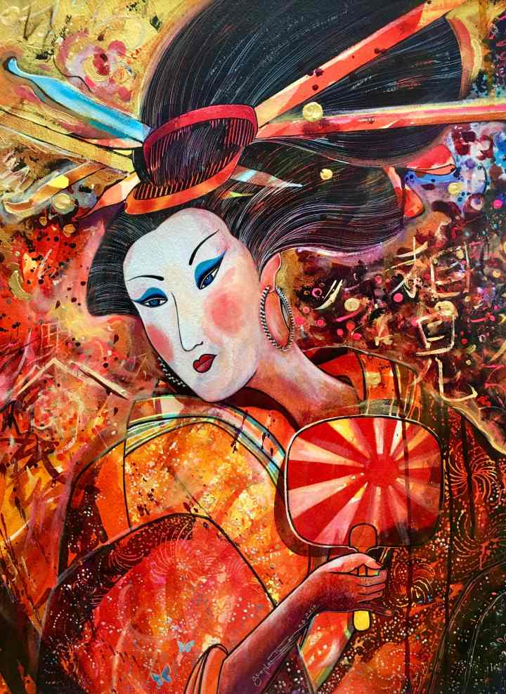 Stephen Thomas painting of one of the geisha concubine's series using watercolour and ink. Painting dimensions are 72cm x 53cm.