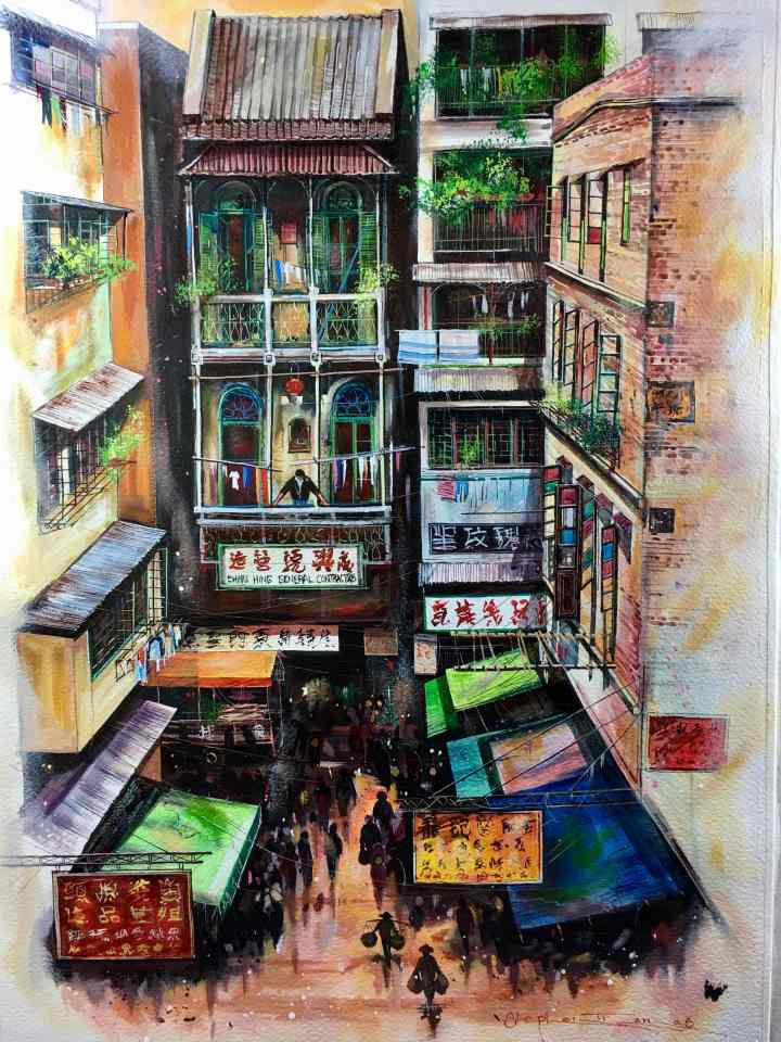 Stephen Thomas painting of Hollywood Road in Central, Hong Kong. He used watercolour, inks and liquid acrylic. Painting dimensions are 50cm x 38cm.