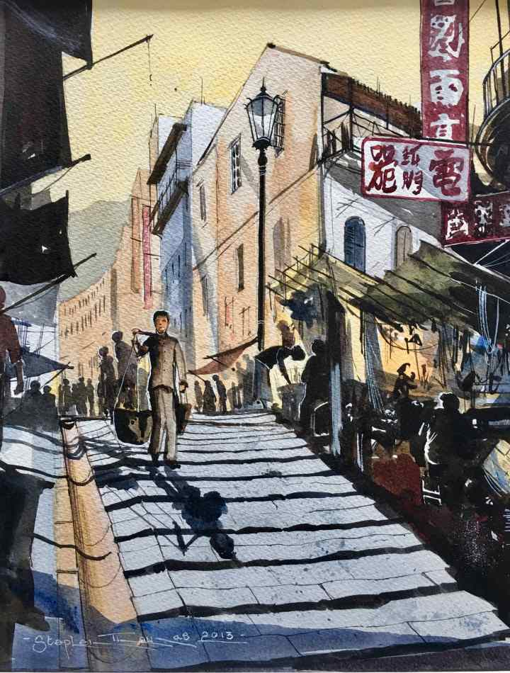 Stephen Thomas painting of Pedded Street Steps in Hong Kong using watercolour. Painting dimensions are 30cm x 23cm.