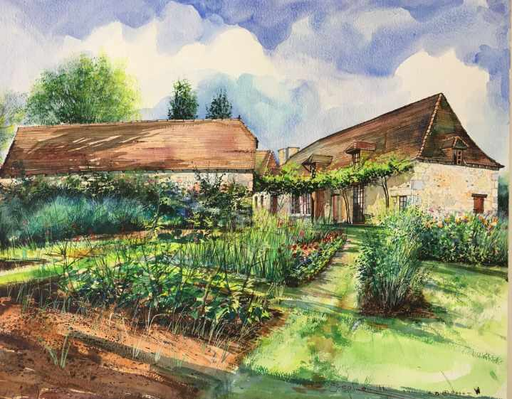 Stephen Thomas painting of Le Varissou, Annie et Claude's Chambers D'hotes (Kitchen Garden) in Terrasson, Dordogne, France. He used watercolour. Painting dimensions are 50cm x 40cm.